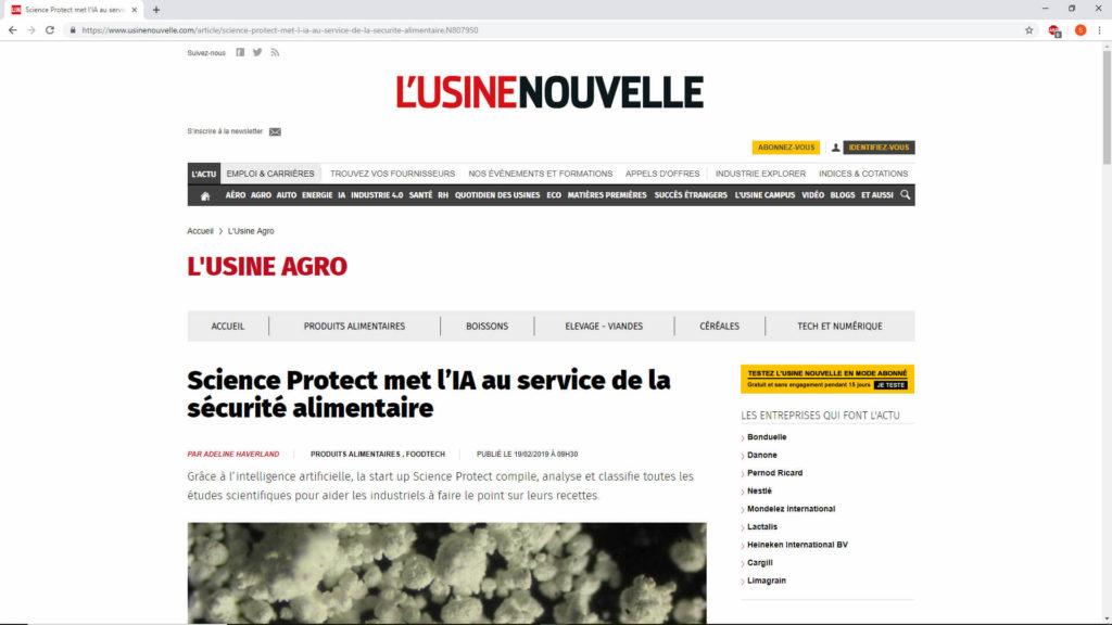 ScienceProtect - Presse - Usine nouvelle